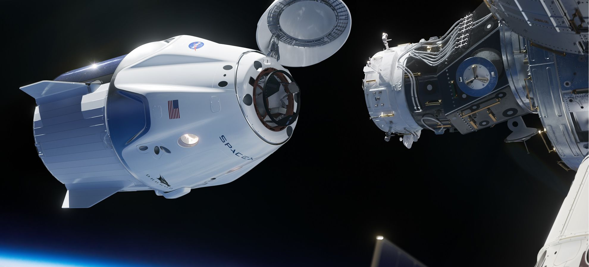 Drago da Crew, in avvicinamento alla Stazione Spaziale Internazionale