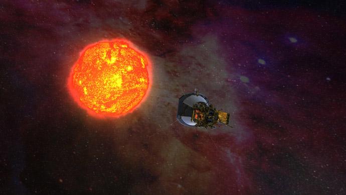 sonda solare Parker in orbita attorno al sole.