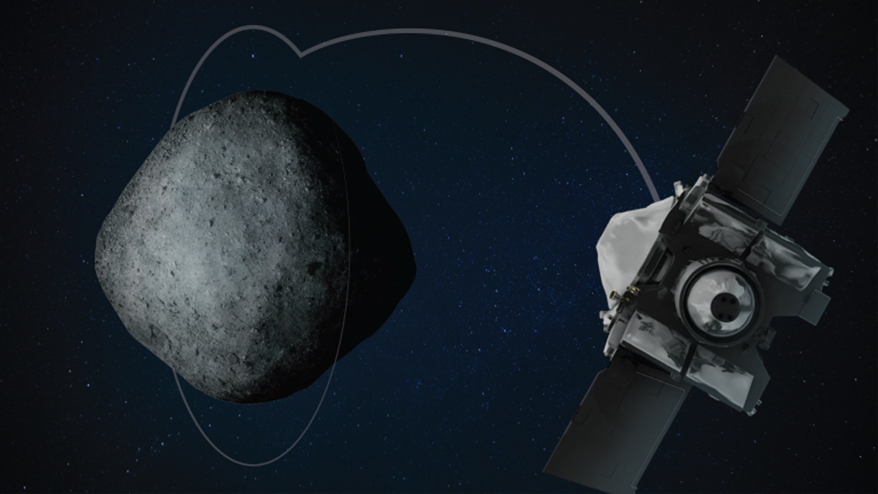 OSIRIS-REx che entra in orbita attorno a Bennu.